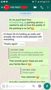 One of our satisfied customers giving feedback with positive home painting services recently baby!!
